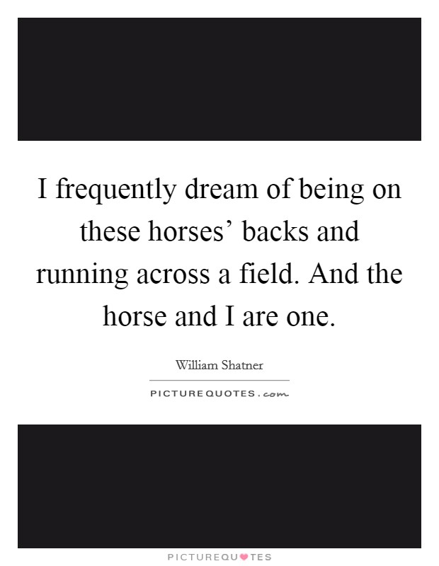 I frequently dream of being on these horses' backs and running across a field. And the horse and I are one Picture Quote #1