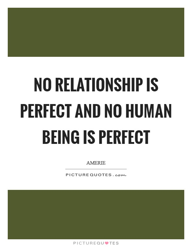 No relationship is perfect and no human being is perfect Picture Quote #1