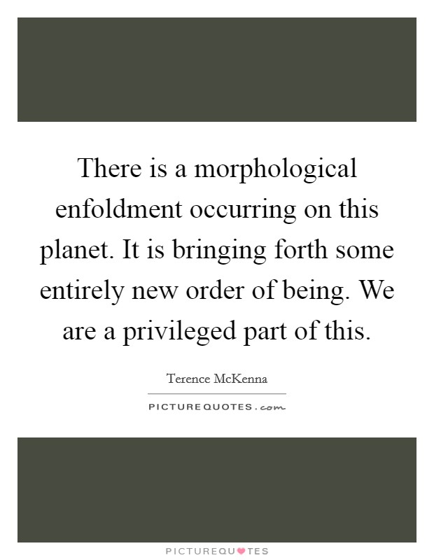 There is a morphological enfoldment occurring on this planet. It is bringing forth some entirely new order of being. We are a privileged part of this Picture Quote #1