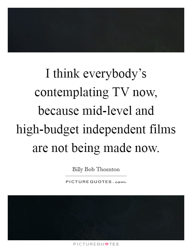 I think everybody's contemplating TV now, because mid-level and high-budget independent films are not being made now Picture Quote #1
