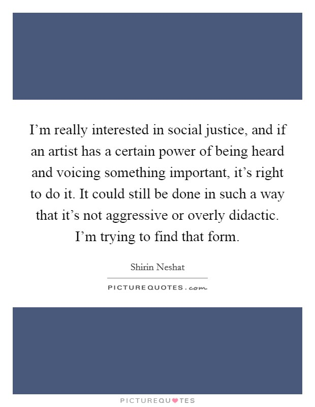 I'm really interested in social justice, and if an artist has a certain power of being heard and voicing something important, it's right to do it. It could still be done in such a way that it's not aggressive or overly didactic. I'm trying to find that form Picture Quote #1