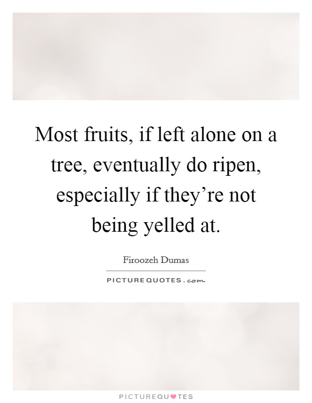 Most fruits, if left alone on a tree, eventually do ripen, especially if they're not being yelled at Picture Quote #1