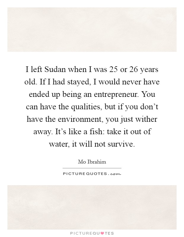 I left Sudan when I was 25 or 26 years old. If I had stayed, I would never have ended up being an entrepreneur. You can have the qualities, but if you don't have the environment, you just wither away. It's like a fish: take it out of water, it will not survive Picture Quote #1