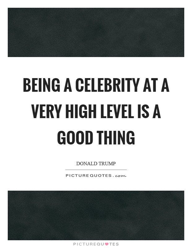 Being a celebrity at a very high level is a good thing Picture Quote #1