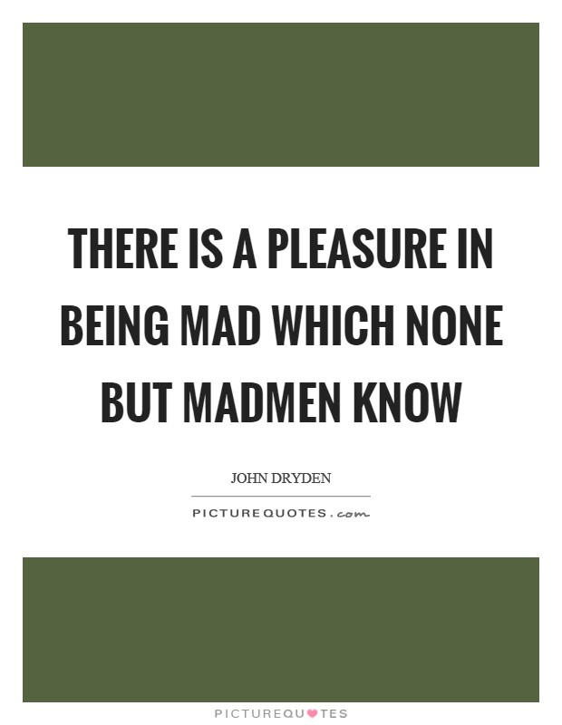 There is a pleasure in being mad which none but madmen know Picture Quote #1