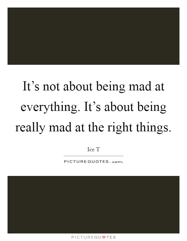 It's not about being mad at everything. It's about being really mad at the right things Picture Quote #1