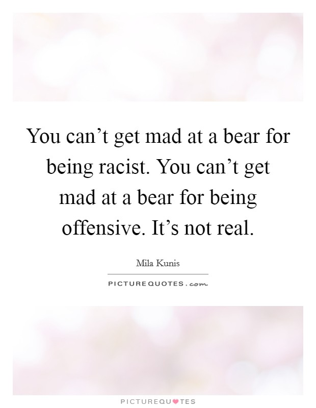 You can't get mad at a bear for being racist. You can't get mad at a bear for being offensive. It's not real Picture Quote #1