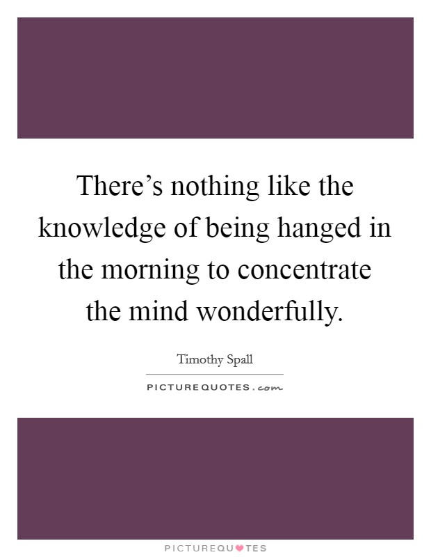 There's nothing like the knowledge of being hanged in the morning to concentrate the mind wonderfully Picture Quote #1