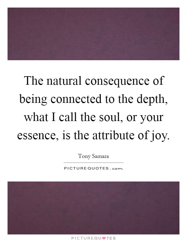 The natural consequence of being connected to the depth, what I call the soul, or your essence, is the attribute of joy Picture Quote #1