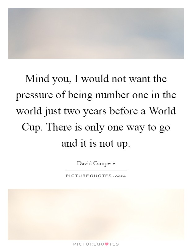 Mind you, I would not want the pressure of being number one in the world just two years before a World Cup. There is only one way to go and it is not up Picture Quote #1