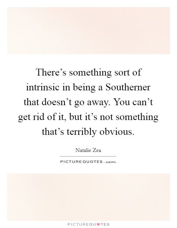 There's something sort of intrinsic in being a Southerner that doesn't go away. You can't get rid of it, but it's not something that's terribly obvious Picture Quote #1