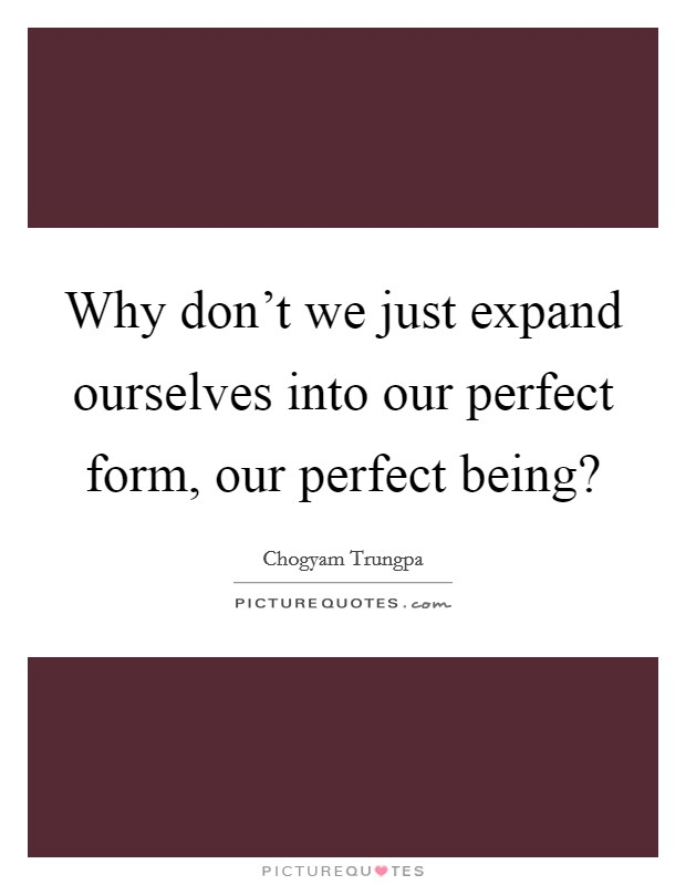 Why don't we just expand ourselves into our perfect form, our perfect being? Picture Quote #1
