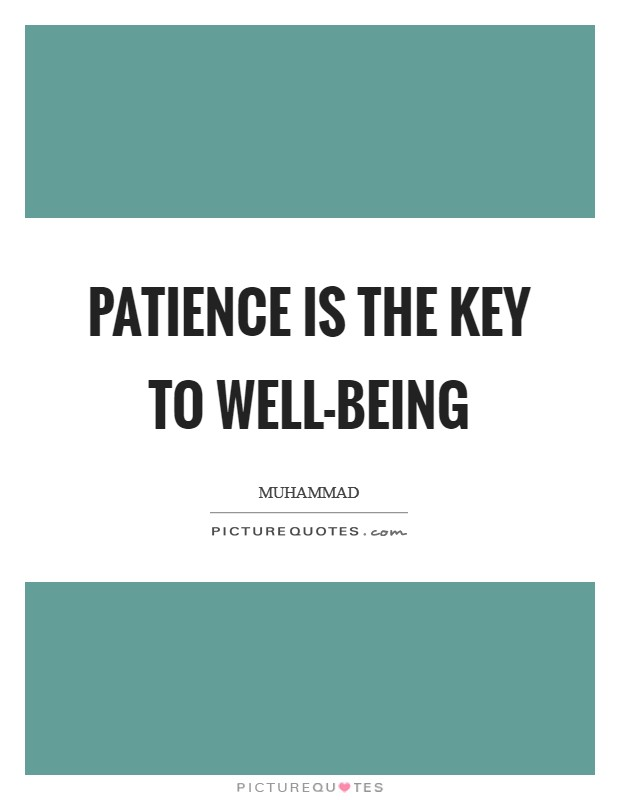 Patience is the key to well-being Picture Quote #1