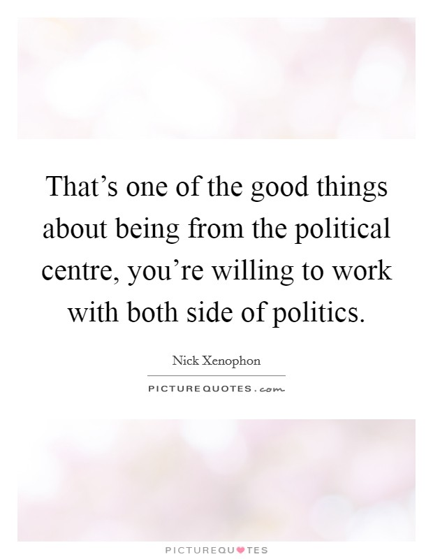 That's one of the good things about being from the political centre, you're willing to work with both side of politics Picture Quote #1