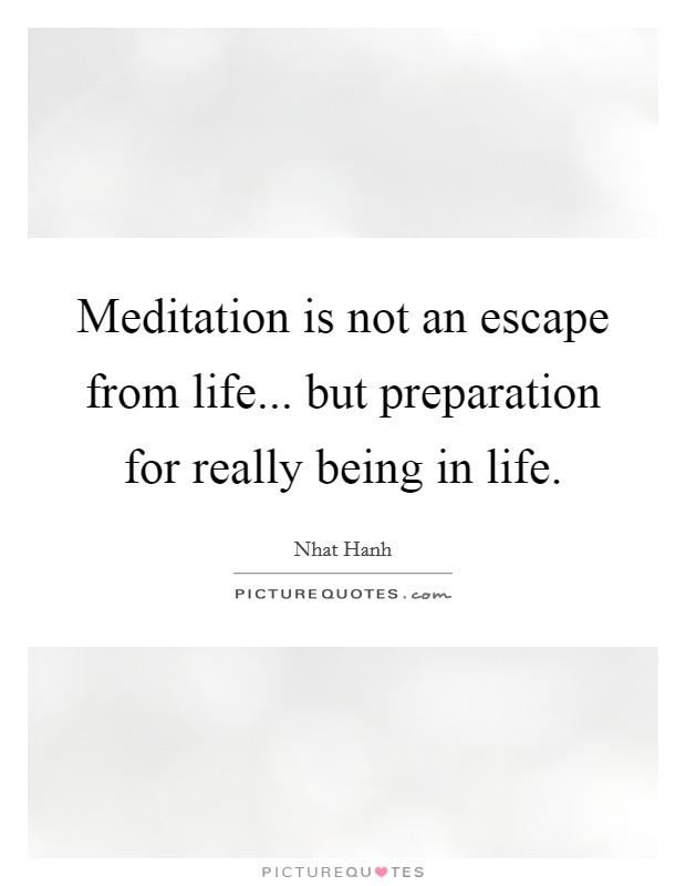Meditation is not an escape from life... but preparation for really being in life Picture Quote #1
