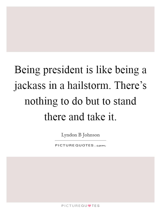 Being president is like being a jackass in a hailstorm. There's nothing to do but to stand there and take it Picture Quote #1