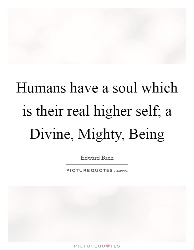 Humans have a soul which is their real higher self; a Divine, Mighty, Being Picture Quote #1