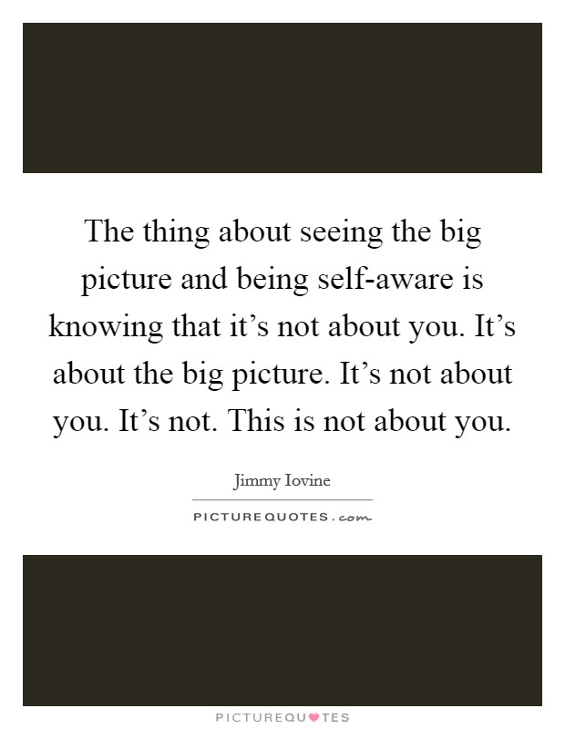 The thing about seeing the big picture and being self-aware is knowing that it's not about you. It's about the big picture. It's not about you. It's not. This is not about you Picture Quote #1