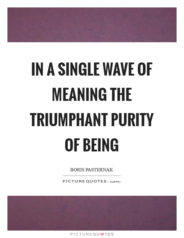 In a single wave of meaning the triumphant purity of being Picture Quote #1