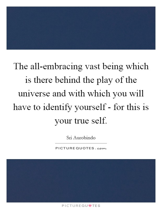 The all-embracing vast being which is there behind the play of the universe and with which you will have to identify yourself - for this is your true self Picture Quote #1