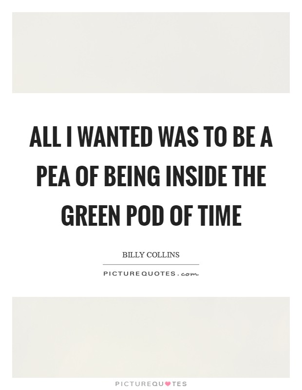 All I wanted was to be a pea of being inside the green pod of time Picture Quote #1
