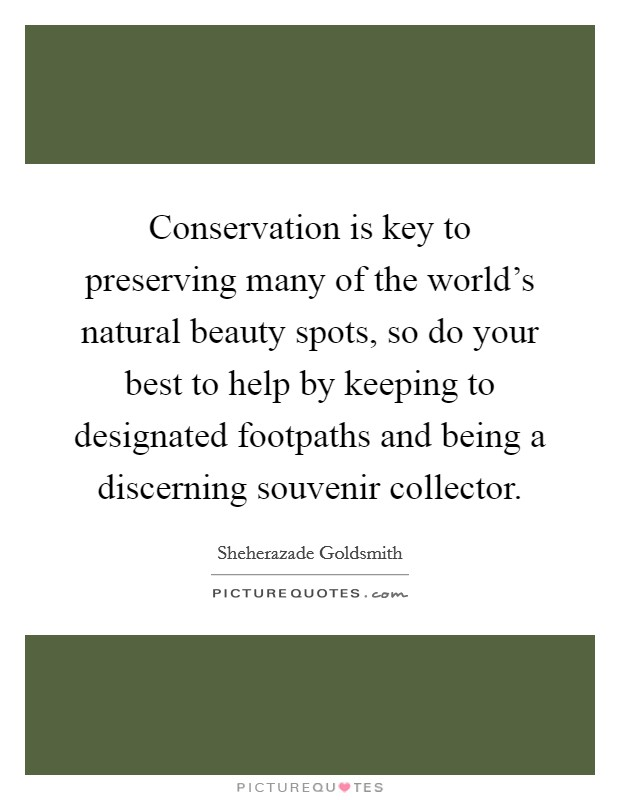 Conservation is key to preserving many of the world's natural beauty spots, so do your best to help by keeping to designated footpaths and being a discerning souvenir collector Picture Quote #1