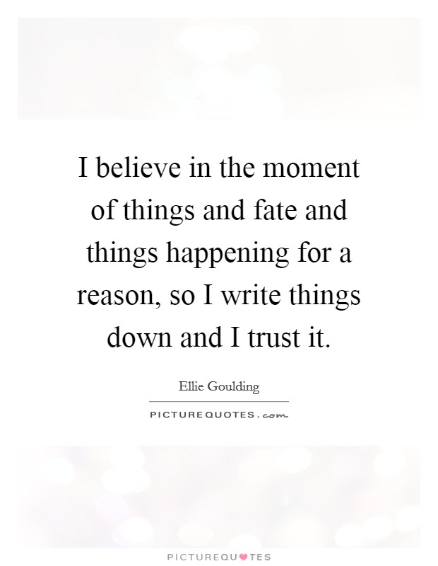 I believe in the moment of things and fate and things happening for a reason, so I write things down and I trust it Picture Quote #1