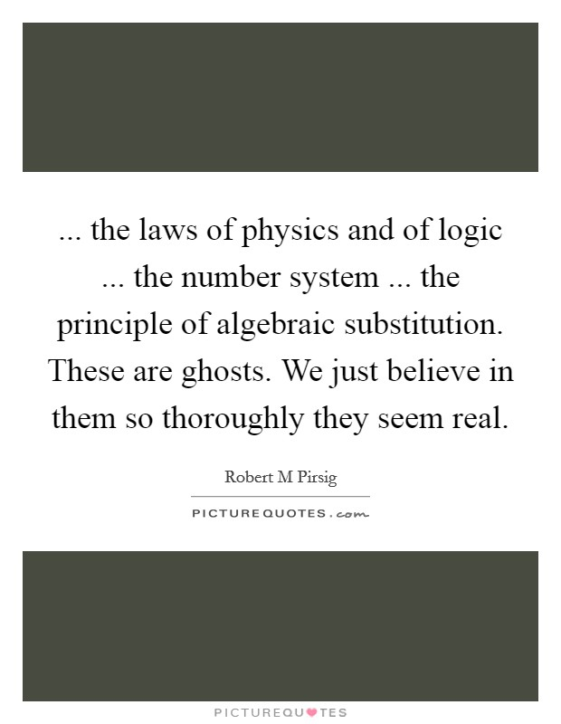 ... the laws of physics and of logic ... the number system ... the principle of algebraic substitution. These are ghosts. We just believe in them so thoroughly they seem real Picture Quote #1