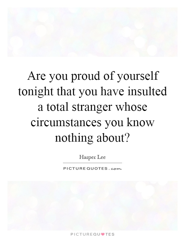 Are you proud of yourself tonight that you have insulted a total stranger whose circumstances you know nothing about? Picture Quote #1