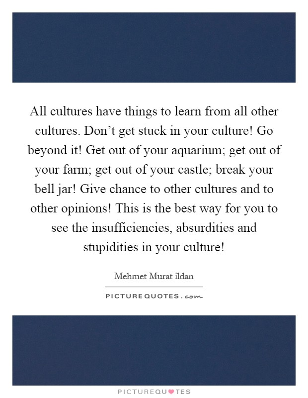 All cultures have things to learn from all other cultures. Don't get stuck in your culture! Go beyond it! Get out of your aquarium; get out of your farm; get out of your castle; break your bell jar! Give chance to other cultures and to other opinions! This is the best way for you to see the insufficiencies, absurdities and stupidities in your culture! Picture Quote #1