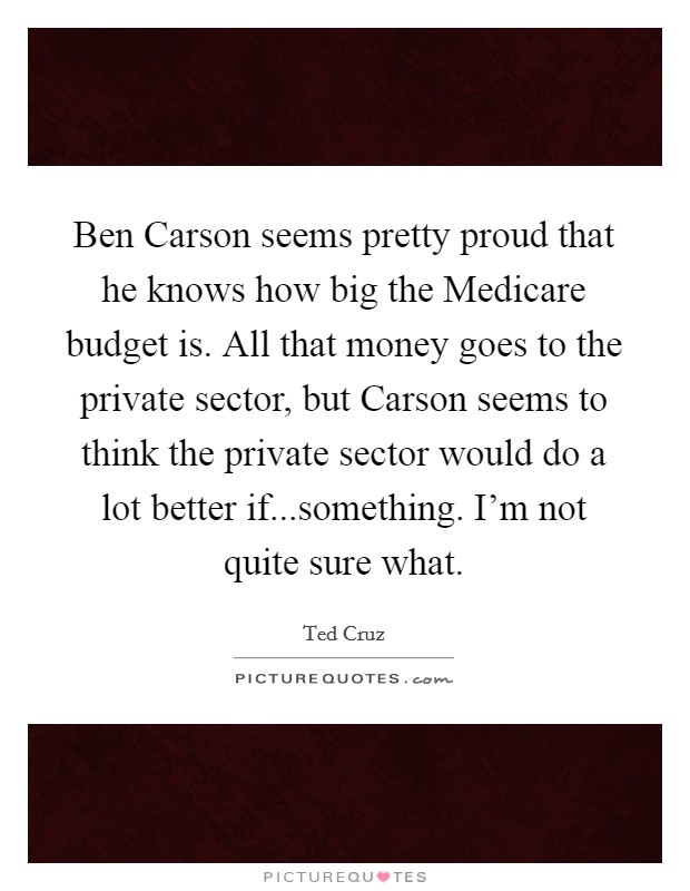 Ben Carson seems pretty proud that he knows how big the Medicare budget is. All that money goes to the private sector, but Carson seems to think the private sector would do a lot better if...something. I'm not quite sure what Picture Quote #1