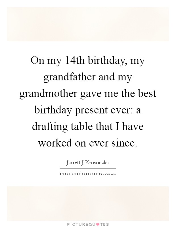 on my th birthday my grandfather and my grandmother gave me