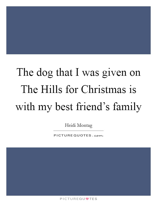 The dog that I was given on The Hills for Christmas is with my best friend's family Picture Quote #1