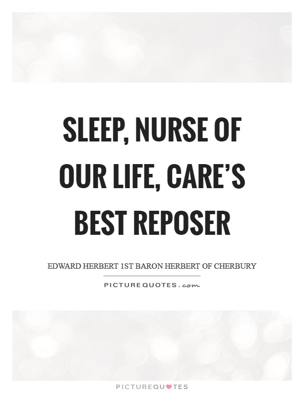 Sleep, nurse of our life, care's best reposer Picture Quote #1