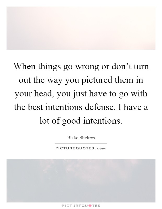 When things go wrong or don't turn out the way you pictured them in your head, you just have to go with the best intentions defense. I have a lot of good intentions Picture Quote #1