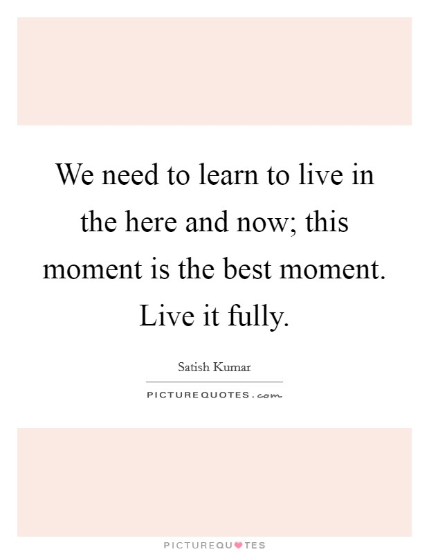 We need to learn to live in the here and now; this moment is the best moment. Live it fully Picture Quote #1