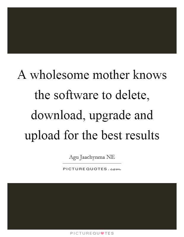 A wholesome mother knows the software to delete, download, upgrade and upload for the best results Picture Quote #1