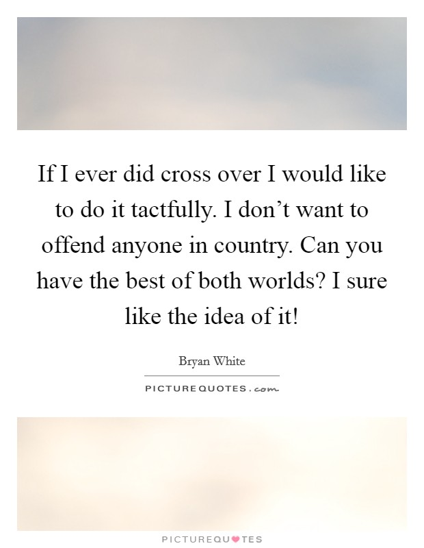 If I ever did cross over I would like to do it tactfully. I don't want to offend anyone in country. Can you have the best of both worlds? I sure like the idea of it! Picture Quote #1