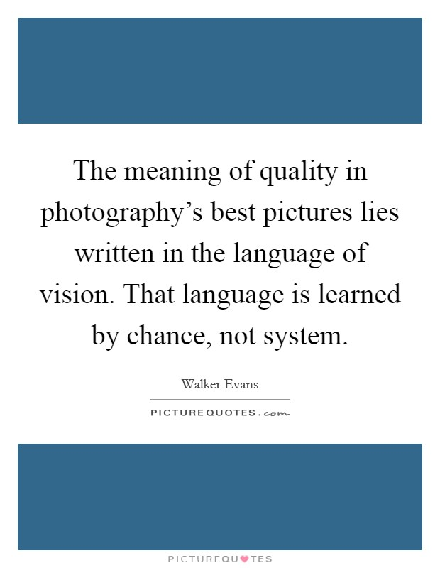The meaning of quality in photography's best pictures lies written in the language of vision. That language is learned by chance, not system Picture Quote #1