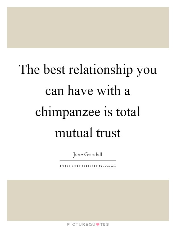 The best relationship you can have with a chimpanzee is total mutual trust Picture Quote #1