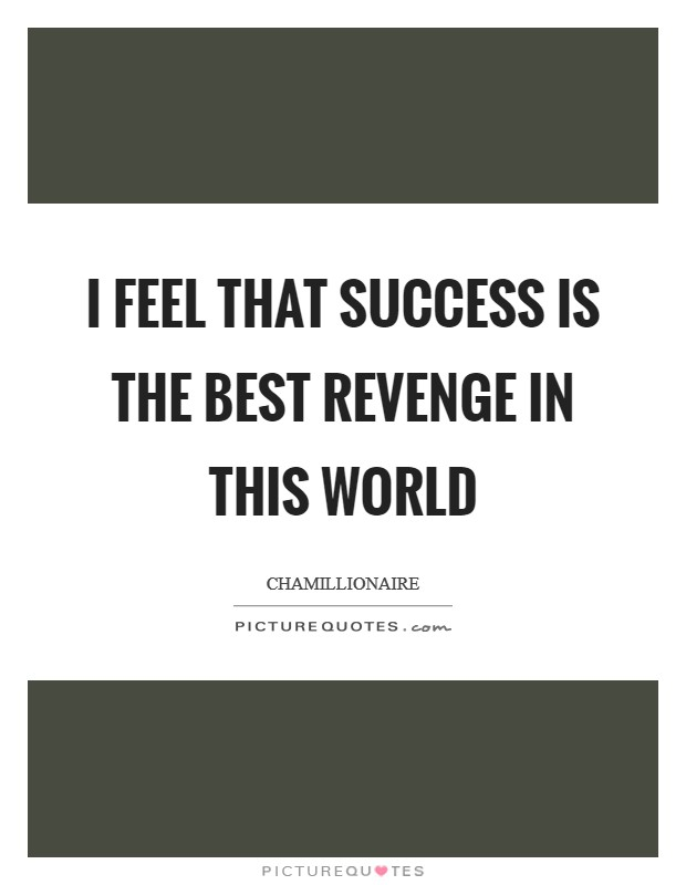 I feel that success is the best revenge in this world Picture Quote #1