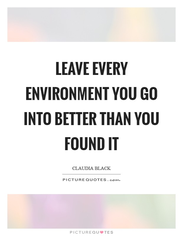 Leave every environment you go into better than you found it Picture Quote #1