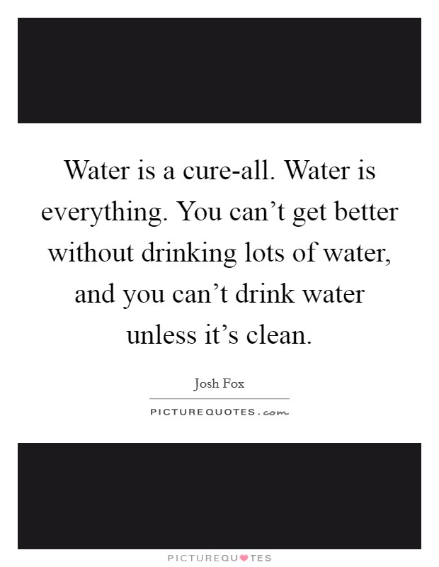 Water is a cure-all. Water is everything. You can't get better without drinking lots of water, and you can't drink water unless it's clean Picture Quote #1