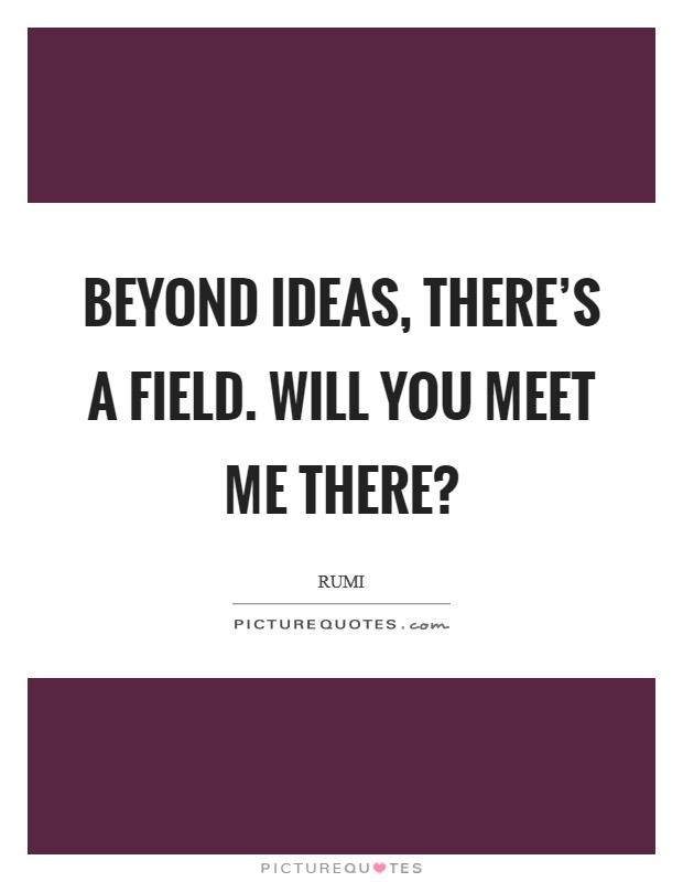 Beyond ideas, there's a field. Will you meet me there? Picture Quote #1