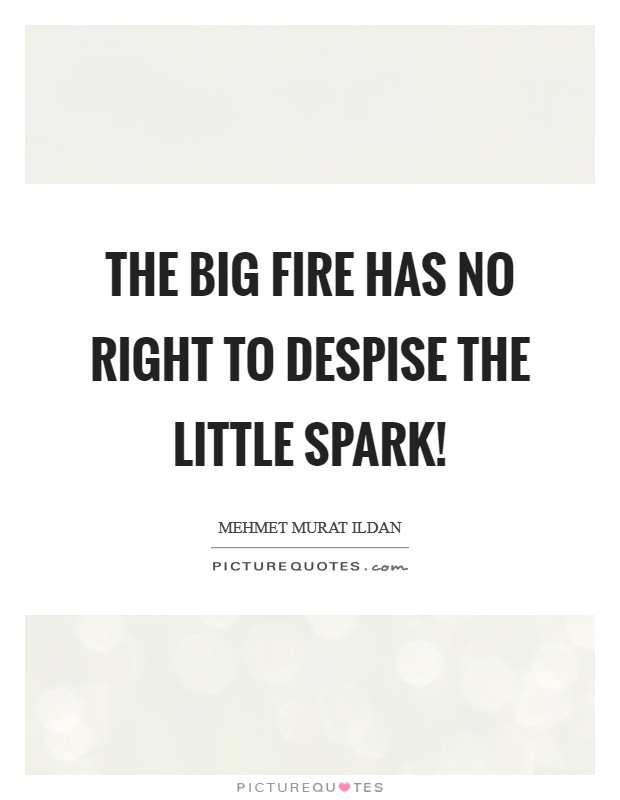 The big fire has no right to despise the little spark! Picture Quote #1