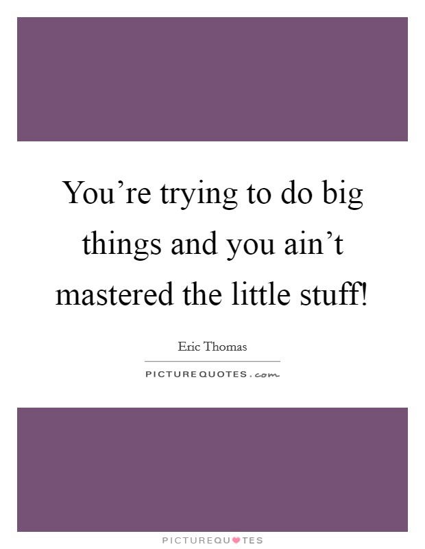 You're trying to do big things and you ain't mastered the little stuff! Picture Quote #1