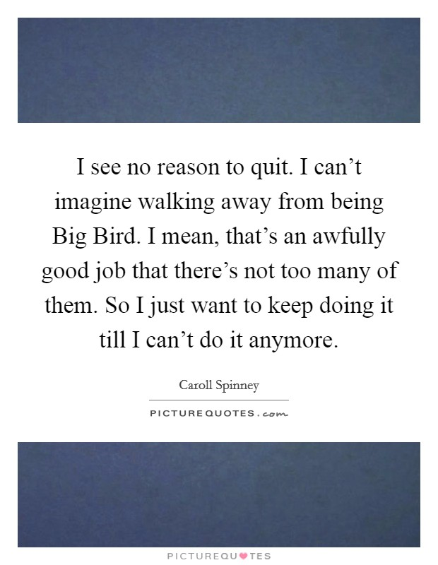I see no reason to quit. I can't imagine walking away from being Big Bird. I mean, that's an awfully good job that there's not too many of them. So I just want to keep doing it till I can't do it anymore Picture Quote #1