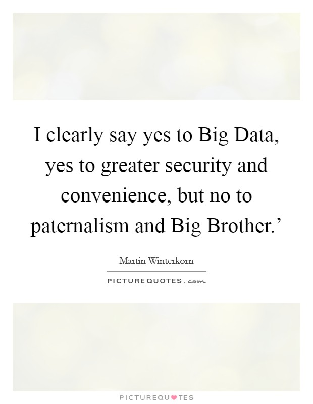 I clearly say yes to Big Data, yes to greater security and convenience, but no to paternalism and Big Brother.' Picture Quote #1