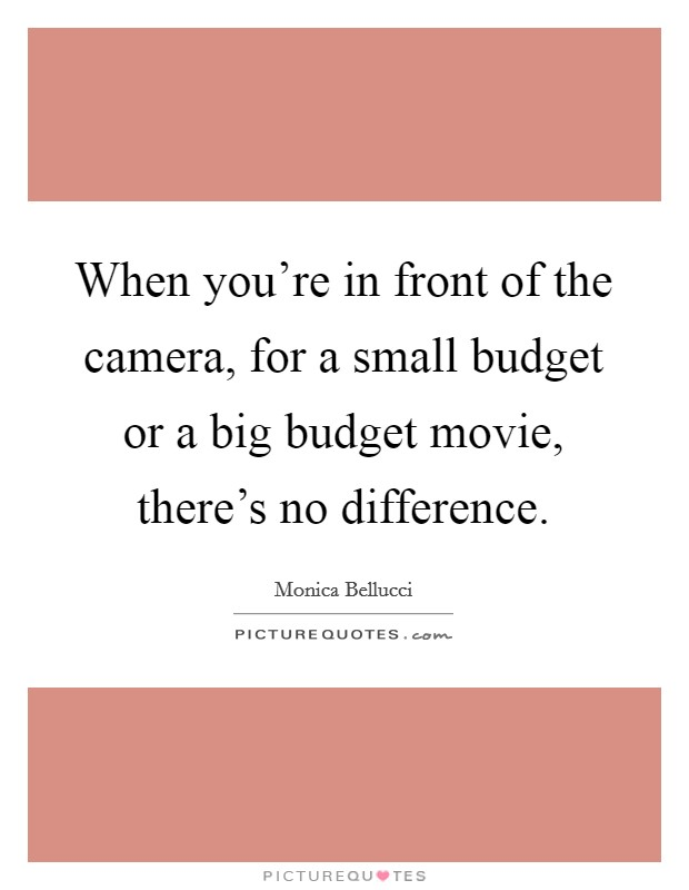 When you're in front of the camera, for a small budget or a big budget movie, there's no difference Picture Quote #1