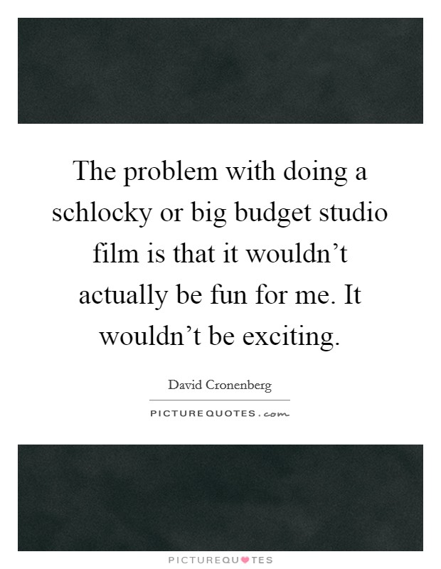 The problem with doing a schlocky or big budget studio film is that it wouldn't actually be fun for me. It wouldn't be exciting Picture Quote #1